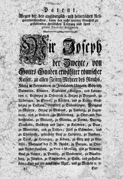 Toleranzpatent 1781